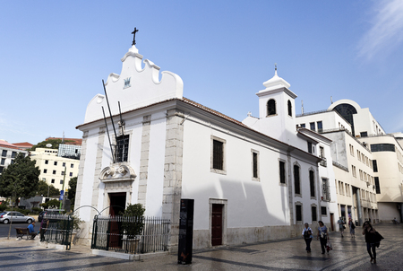 senhora: The little Church of Senhora da Saude built in 1505 in Martim Moniz Square, in Lisbon, Portugal
