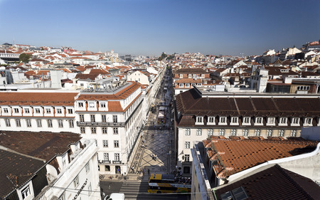 baixa: Cityscape from the lookout on top of the Augusta Street Arch in Lisbon Portugal. Features the pedestrian shopping Augusta Street.