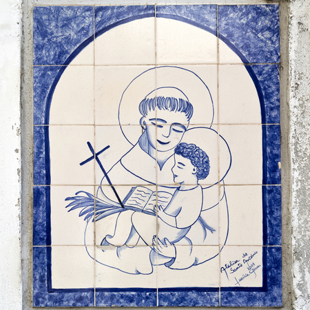 patron: Tile panes with the image Saint Anthony, the patron saint of Lisbon, can be found on the streets of Lisbon, Portugal