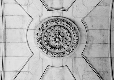 augusta: Detail of the ceiling of the Rua Augusta Arch, a stone triumphal arch-like historical building and main attraction on the Praca do Comercio in Lisbon, Portugal