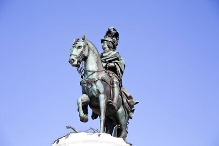 jose: View of King Dom Jose equestrian statue in Commerce Square, in Lisbon, Portugal