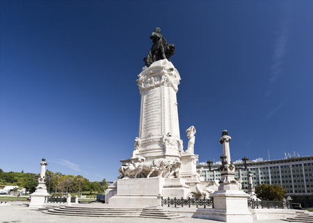 rebuilt: Monument to the Marquis of Pombal, the prime-minister who rebuilt the old town of Lisbon after the earthquake of 1755, in Lisbon, Portugal