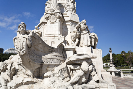 rebuilt: Detail of the base of the monument to the Marquis of Pombal in Lisbon, Portugal
