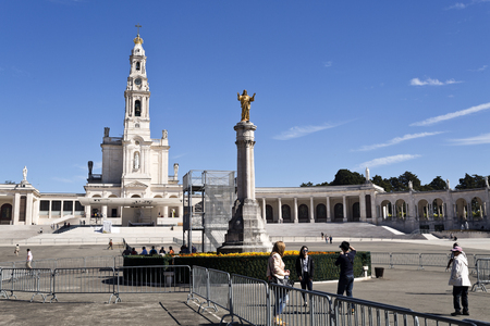church of our lady: The Basilica of Our Lady of the Rosary of Fatima seen from the new Church of the Most Holy Trinity in Fatima, Portugal Editorial