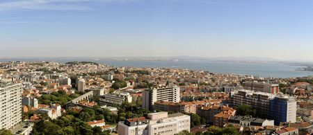 newest: Panoramic view towards the old city and the Tagus River from the newest Amoreiras Lookout Point in Lisbon, Portugal