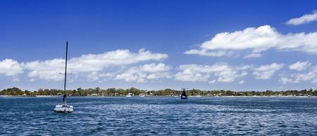View across the Pumicestone Passage of the beautiful low line Bribie Island, Australia Stock Photo
