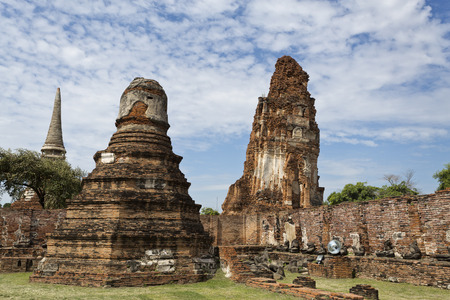 Detail of Wat Mahathat, Temple of the Great Relic, a Buddhist temple in Ayutthaya, central Thailand
