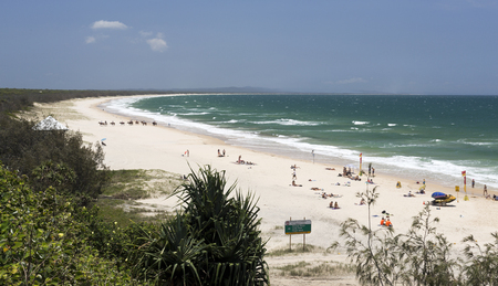 fraser island: Spectacular view to the North of the Rainbow Beach looking towards the Fraser Island, in Queensland, Australia