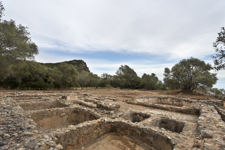 1st century ad: View of the ruins of a 1st century AD Roman fish salting plant near the Creiro beach, in Arrabida Mountain, Portugal Stock Photo