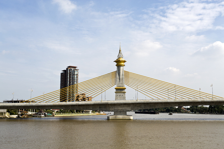 Maha Chesadabodindranusorn Bridge is a cable stayed bridge over the Chao Phraya River  in Nonthaburi Province, Bangkok, Thailand.