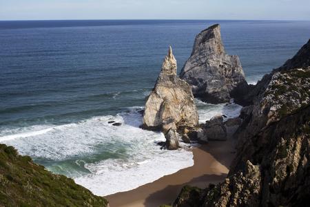 The Ursa Beach (Praia da Ursa) is a natural treasure at the end of a difficult cliff descent located in the Sintra Mountain, near Lisbon, Portugal Stock Photo