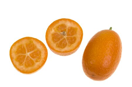 The Nagami Cumquat, Fortunella margarita, looks like a tiny orange with an oval shape, sweet oily skin, quite sour inside and orange colour.