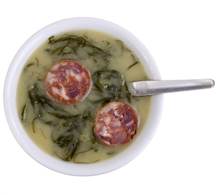 Green broth, called Caldo Verde, is a very popular soup in Portuguese cuisine with potatoes, thinly sliced collard greens, olive oil, salt and slices of chorizo as the traditional ingredients.