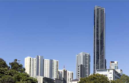 View of the tallest residential tower in Brisbane, Australia