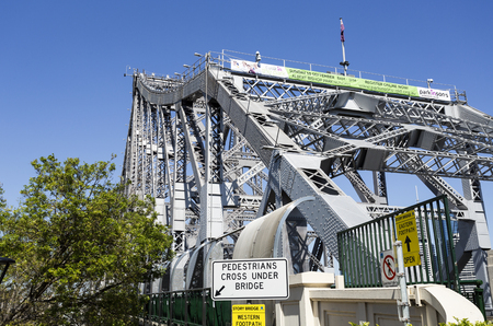 View of the north end of the Story Bridge, a steel truss cantilever bridge in Brisbane, Australia