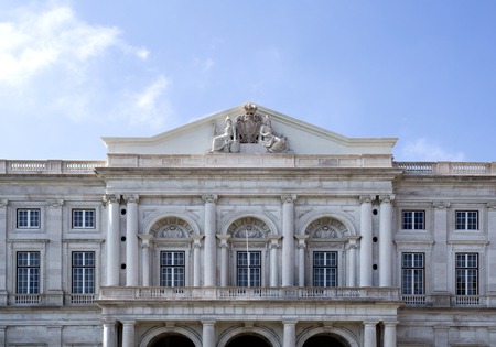 View of the balcony above the main entrance of the Palace of Ajuda, built in neoclassical style, in Lisbon, Portugal