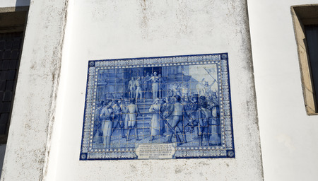 Tiles panel celebrating general Sepulveda proclaiming in 1808 the resistence of the people of Braganca to the invading Napoleonic French forces in Braganca, Portugal
