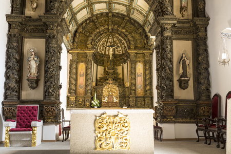 View of the Baroque high altar of late sixteenth century Church of  the Santa Clara Monastery in Braganca, Portugal Stock Photo