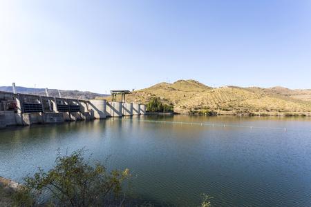 Lake upstream the Pocinho Dam on the Douro River near the village of Pocinho, Douro Region, Portugal