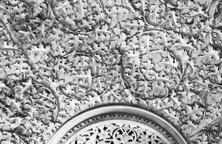 Intricate plasterwork on the walls of the Monserrate Palace, an exotic palatial villa located near Sintra, Portugal Stock Photo