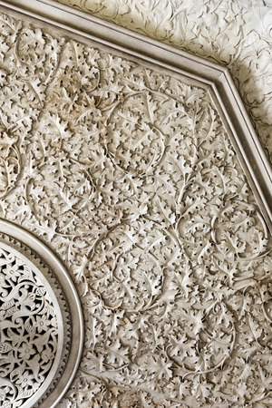 Intricate plasterwork on the walls of the Monserrate Palace, an exotic palatial villa located near Sintra, Portugal Editorial