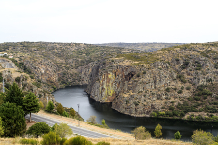 View of the Douro International Nature Park along the Spain and Portugal border that include similar geological and climatic conditions, in Miranda do Douro, Portugal