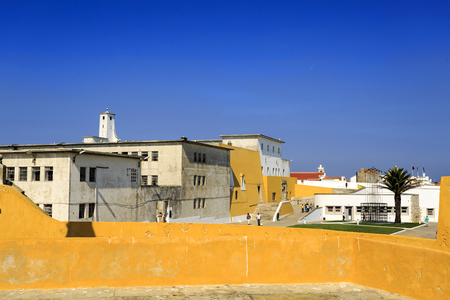 View of the old political prison, today a museum, within the walls of the fortress of Peniche, Portugal