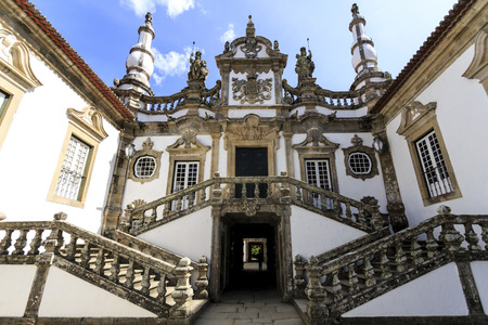 Detail of the main entrance of the Baroque style Mateus Palace, built by the Italian architect Nicolau Nasoni in Vila Real, Portugal