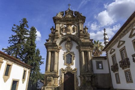 Facade of the chapel of the Mateus Palace in Vila Real, Portugal