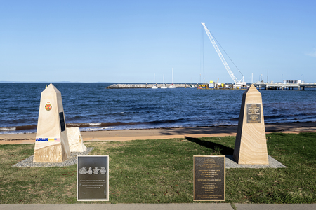 Memorial to the Vietnam Veterans (left) and Servicemen and Women of the WW1 (right), in Anzac Place, Redcliffe, Australia Editorial