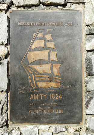 Plaque remembering the arrival in Redcliffe, the first Queensland settlement city, of brig Amity carrying commandant Miller, explorer Oxley, crew and convicts