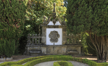 Gable in granite created by the palace architect Nicolau Nasoni in the Mateus Palace gardens, in Vila Real, Portugal