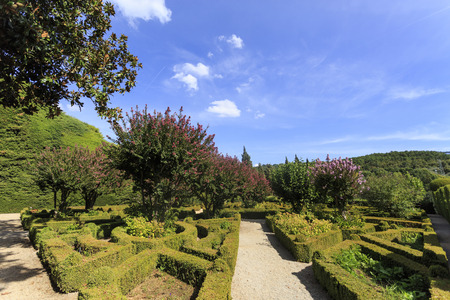 Spectacular French style garden made up of tailored boxwood, Buxus sempervirens, in Mateus Palace, Vila Real Portugal