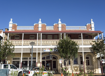 View of The Langham Hotel, built in 1912-13, and its filigreed verandah, archways and pilasters, in Warwick, Australia