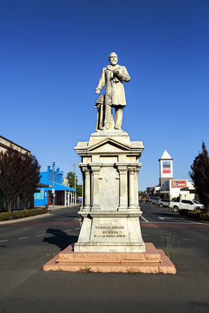 Heritage listed statue of Thomas Byrnes, Premier of Queensland who died in office in 1898. It was designed by Andrews Bros and erected in 1902.