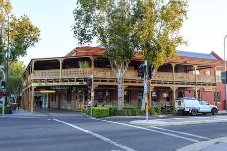 View of the facade and its wraparound lacework balcony and verandah of the late 19th century Union Club Hotel in the city of Wagga Wagga, New South Wales, Australia. Editorial