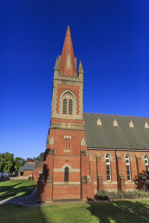 View of the St Andrew Presbyterian Church, a Victorian Gothic Revival building, erected in 1890 in brick and sandstone in the city of Wagga Wagga, New South Wales, Australia.