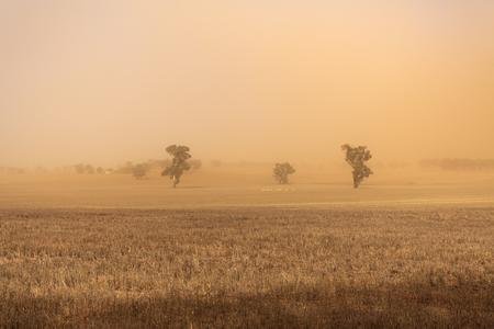 Dust storm blowing over the agricultural fields between Wagga Wagga and Temora, New South Wales Imagens
