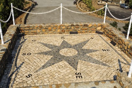View of the Compass Rose, also called Windrose or Rose of the Winds, located at the Geodetic Center of Portugal, in Picoto of Melrica, Vila de Rai, Portugal