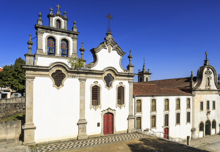 Facade of the Church of Saint Francis and the Seminary of the Apostolic Missionaries in the northern town of Vinhais, Portugal