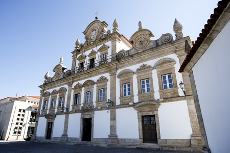 Facade of the baroque style Palace of the Tavoras built in early 18th century and where is installed the City Hall of Mirandela, Tras os Montes, Portugal