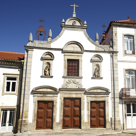 Facade of the Church of Mercy, built in the 17th century in Mannerist style, in Mirandela, Tras os Montes, Portugal