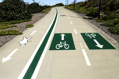 Clearly marked lanes design of pedestrian and bicycles sharing the roads in around Redcliffe Peninsula, Queensland, Australia Stock fotó