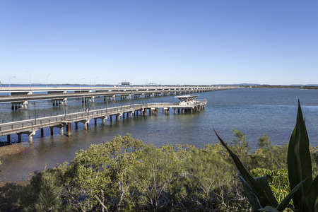 Panoramic view of the three bridges connecting Brisbane to the Redcliffe Peninsula, Australia
