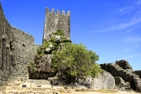 View of the medieval fortress built in early 13th century by the Portuguese King Sancho II in Sortelha, Portugal