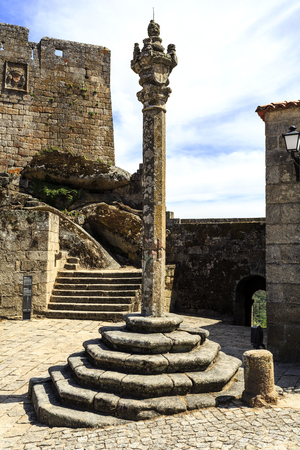 View of the Manueline pillory built in the 16th century (1510) by order of King Manuel in Sortelha, Portugal