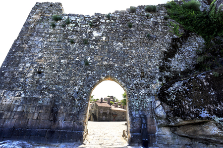 The Town Gate was the main gate of the medieval walled town of Sortelha, Portugal Stock Photo