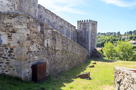 View of the medieval castle external walls, built in late 13th and early 14th centuries by King Diniz, in Sabugal, Portugal