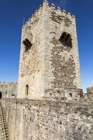 View of the medieval castle inside walls and donjon, built in late 13th and early 14th centuries by King Diniz, in Sabugal, Portugal Stock Photo