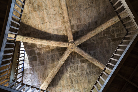 View of the rib vault ceiling inside the donjon tower of the medieval castle of Sabugal, Portugal Stock Photo